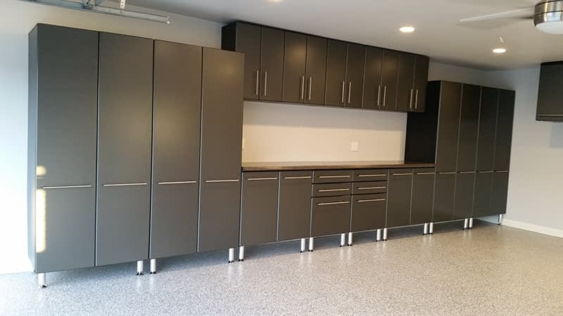 Grey Garage Cabinets and Epoxy Floors