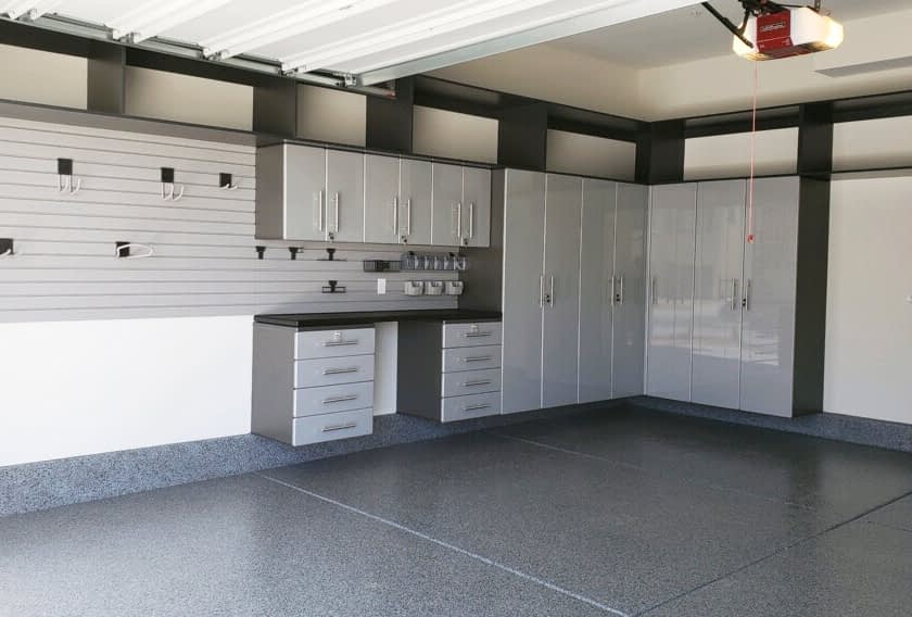 Garage Slatwall with Cabinets
