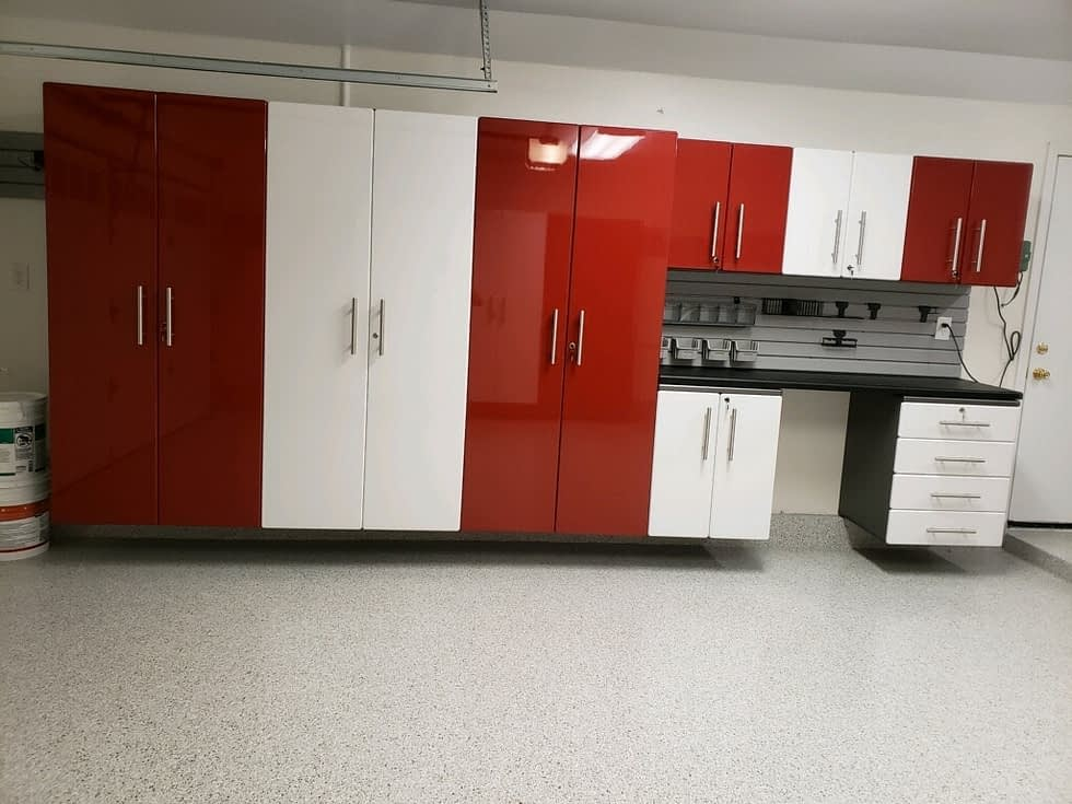 Custom Red and White Modular Garage Cabinets
