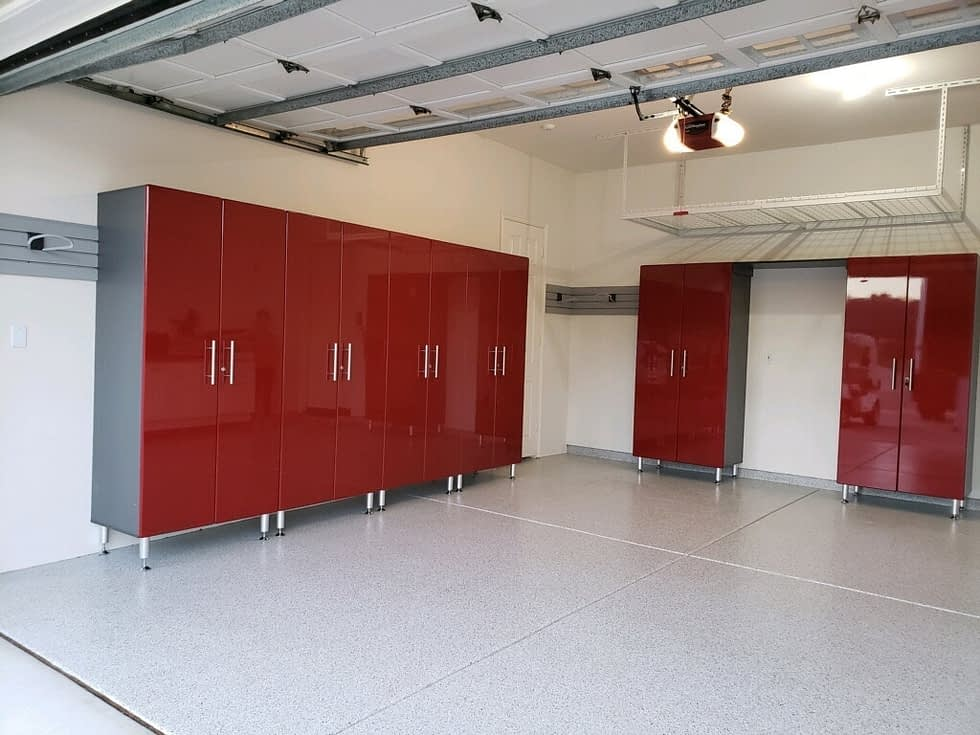 Red Tall Modular Garage Cabinets
