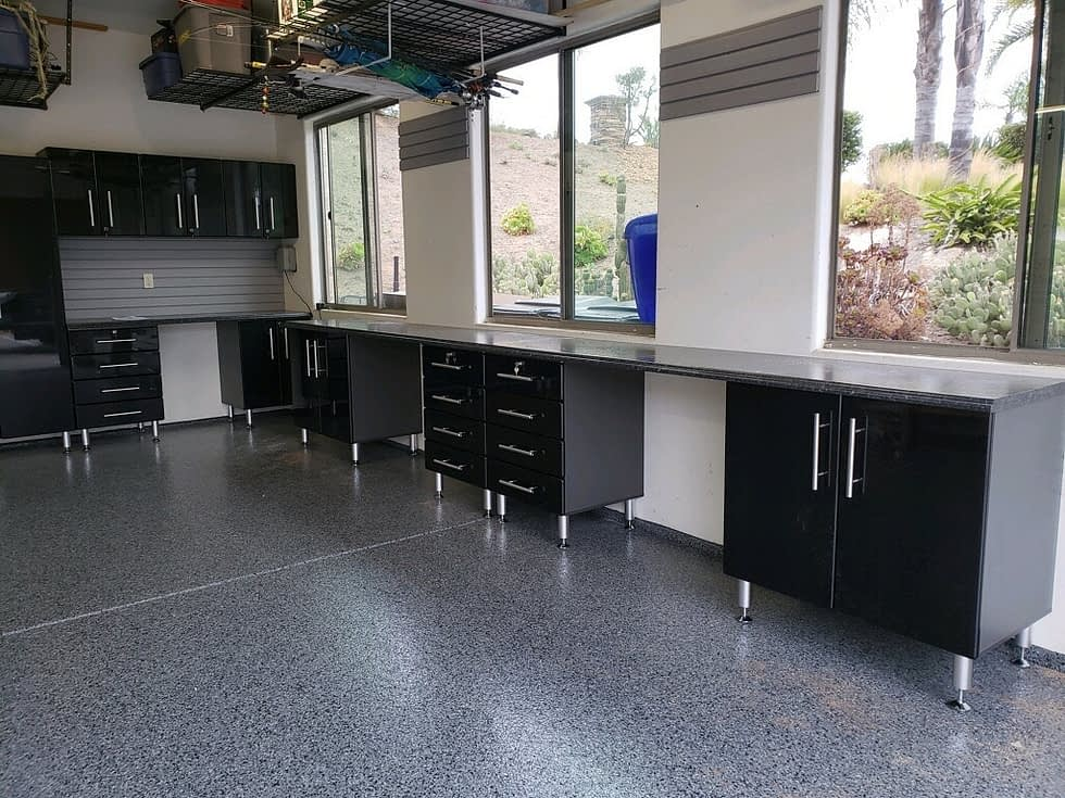modular garage cabinets with workbench